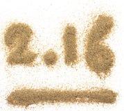 texto 2016 para a areia Foto de Stock