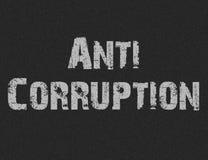 Texto para la corrupción anti en fondo negro Foto de archivo libre de regalías