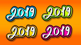 Texto 2019 Para la decoración de los proyectos del Año Nuevo libre illustration