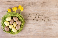 Texto Pascua feliz del fondo del wintage de Pascua Imágenes de archivo libres de regalías