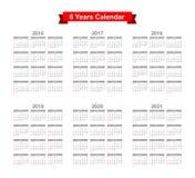 2016 - Texto preto de 2021 calendários em um fundo branco Fotografia de Stock