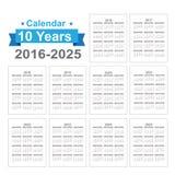 2016 - Texto preto de 2025 calendários em um vetor branco do fundo Imagens de Stock