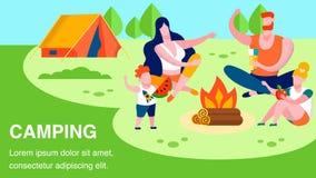 Texto que acampa y bandera de reclinación de la publicidad de la familia libre illustration