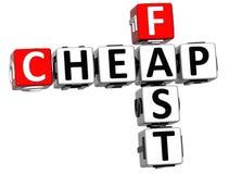 texto rápido barato das palavras cruzadas 3D Foto de Stock Royalty Free