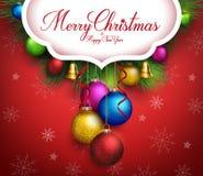 texto realista de los saludos de la Feliz Navidad 3D stock de ilustración