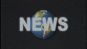 Texto retro de las NOTICIAS con el globo de la tierra en nueva calidad del viejo del vhs de la cinta de la introducción del efect stock de ilustración