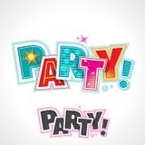 Texto retro do partido, convite da rotulação do vetor Imagem de Stock Royalty Free