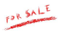 Texto rojo del creyón, para la venta, aislado en blanco Imagen de archivo libre de regalías