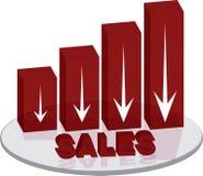Texto rojo del plinth de las ventas abajo stock de ilustración