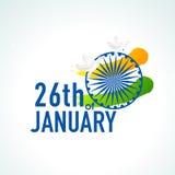 Texto, rueda de Ashoka y palomas hermosos para el día indio de la república Imagen de archivo libre de regalías