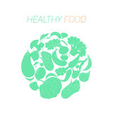 Texto saudável do alimento dos vegetais verdes Imagens de Stock Royalty Free