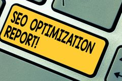 Texto Seo Optimization Report da escrita Vista geral do significado do conceito de um perforanalysisce do Web site no Search Engi foto de stock royalty free