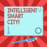 Texto Smart City inteligente da escrita Conceito que significa a cidade que tem um quadrado vazio de uma infraestrutura mais espe ilustração stock