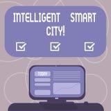 Texto Smart City inteligente da escrita da palavra Conceito do negócio para a cidade que tem uma infraestrutura mais esperta da e ilustração do vetor