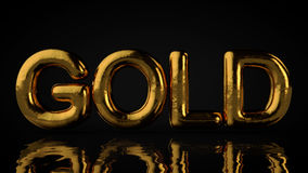 Texto texturizado oro con la reflexión líquida, fondo negro Foto de archivo libre de regalías