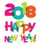 Texto transparente do divertimento do ano novo feliz 2018 brincalhão coloridos Imagens de Stock Royalty Free