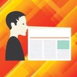 Texto vazio do espaço da cópia do molde do conceito do negócio do projeto para o homem isolado Web site do anúncio com um nariz m ilustração royalty free