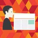 Texto vazio do espaço da cópia do negócio do projeto para o homem isolado promoção do molde da bandeira do Web site do anúncio co ilustração stock