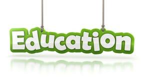 Texto verde da palavra da educação no fundo branco ilustração royalty free