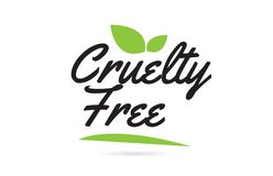 texto verde de la palabra escrita de la carta blanca de la crueldad de la hoja para el diseño del logotipo de la tipografía stock de ilustración
