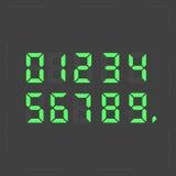 Texto verde digital de la calculadora Fotos de archivo