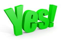 Texto verde do YES 3d com marca de exclamação. Foto de Stock Royalty Free