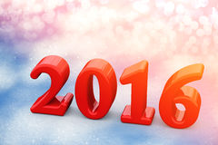 Texto vermelho do Natal do ano 2016 novo na neve Fotos de Stock Royalty Free