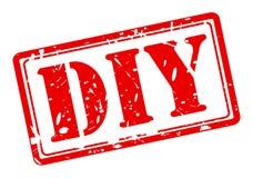 Texto vermelho do selo de DIY Fotografia de Stock