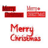Texto vermelho do vintage do Feliz Natal com flocos de neve das estrelas Foto de Stock Royalty Free