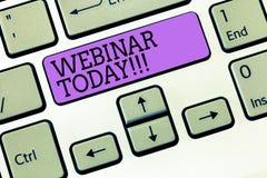 Texto Webinar de la escritura de la palabra hoy El concepto del negocio para decir alguien que tiene seminario condujo sobre Inte fotografía de archivo