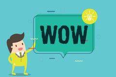 Texto wow de la escritura de la palabra El concepto del negocio para expresar éxito histórico del asombro y del temor excita algu libre illustration