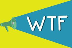 Texto Wtf de la escritura Concepto que significa la abreviatura escrita argot ofensivo a la sorpresa y al asombro de la demostrac ilustración del vector