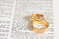 Texto y anillos de la unión Imagenes de archivo