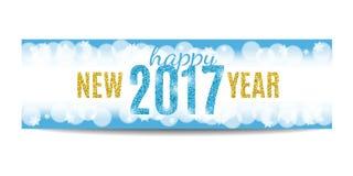 Texto 2017 y copos de nieve de oro de la bandera de la Feliz Año Nuevo Imagen de archivo