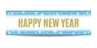 Texto 2017 y copos de nieve de oro de la bandera de la Feliz Año Nuevo Fotografía de archivo libre de regalías