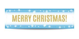 Texto y copos de nieve de oro de la bandera de la Feliz Navidad Imagen de archivo libre de regalías