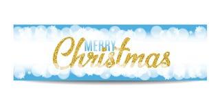 Texto y copos de nieve de oro de la bandera de la Feliz Navidad Fotografía de archivo