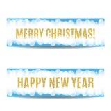 Texto 2017 y copos de nieve de oro de la bandera de la Navidad y del Año Nuevo Fotografía de archivo