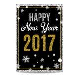 Texto 2017 y copos de nieve de oro de la tarjeta de felicitación de la Feliz Año Nuevo Imágenes de archivo libres de regalías