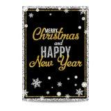 Texto y copos de nieve de oro de la tarjeta de felicitación de la Feliz Navidad Imagenes de archivo