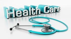 Texto y estetoscopio de la atención sanitaria aislados en el fondo blanco ilustración 3D libre illustration