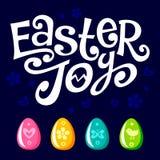 Texto y huevos de la alegría de Pascua de las letras ilustración del vector