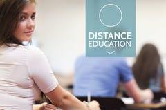 Texto y mujer de la educación a distancia que se sientan en una clase fotografía de archivo libre de regalías