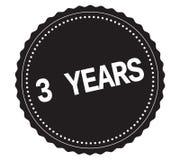 Texto 3-YEARS, en sello negro de la etiqueta engomada Fotografía de archivo libre de regalías