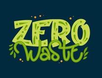 Texto zero do desperd?cio - frase da rotula??o da tra??o da m?o da cor de Eco ilustração stock