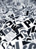 Textos ingleses Imagens de Stock