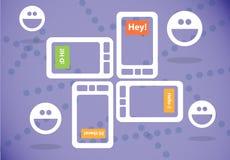 Textoter sur le smartphone Images libres de droits