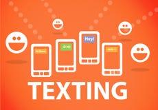 Textoter sur le smartphone Photographie stock