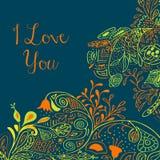 Textotez je t'aime sur le fond de sarcelle d'hiver avec l'ornement floral de nature avec des roses, fleurs, jacinthe des bois, ca Photos libres de droits