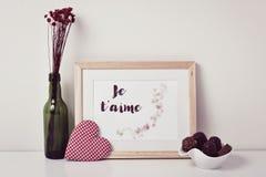 Textotez l'aime du je t, je t'aime en français Image stock